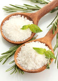 Salt in spoons with fresh basil, thyme and rosemary isolated on white — Stock Photo