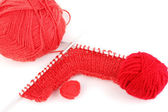 Red knittings yarns isolated on white — Stock Photo