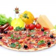 Delicious pizza, vegetables and salami isolated on white — Stock Photo #12065680