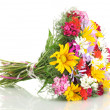 Beautiful bouquet of bright wildflowers, isolated on white — Stock Photo #12065956