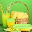 Bright plastic disposable tableware and picnic basket on the lawn on colorful background — Stock Photo #12065978