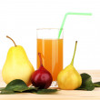 Pear juice with pears on wooden table on white background — Stock Photo