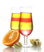 Fruit jelly in glasses and fruits isolated on white — Stock Photo