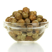 Green capers in a glass bowl isolated on white background — Stock Photo