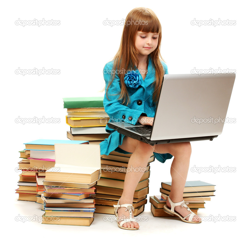 Little girl with notebook and books isolated on white  Stock Photo #12066120