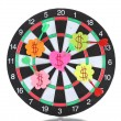 Stock Photo: Darts with stickers depicting life values isolated on white. darts hit target.