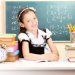 Stock Photo: Little schoolchild in classroom write in notebook
