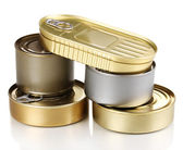 Tin cans isolated on white — Stock Photo