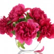 Beautiful pink peonies in glass vase isolated on white - Stock Photo
