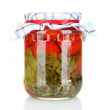 Jar with canned tomatoes isolated on white — Stock Photo