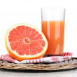 Grapefruit juice and grapefruit isolated on white — Stock Photo #12090322