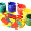 Abstract gouache paint and paint cans isolated on white — Stock Photo