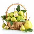Juicy flavorful pears in basket isolated on white — Stock Photo #12090563