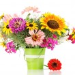 Royalty-Free Stock Photo: Beautiful bouquet of bright flowers in pail isolated on white