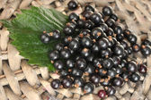 Fresh black currant on wicker mat close-up — Stock Photo