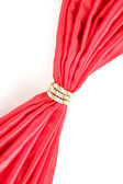 Red cloth tied with rope isolated on white — Stock Photo
