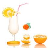 Delicious milk shake with fruit isolated on white — Stock Photo