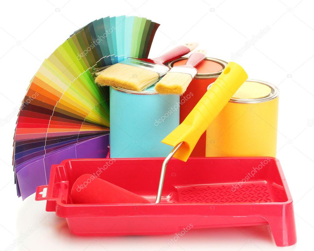 bo tes de conserve avec la peinture rouleaux pinceaux et lumineuse palette de couleurs isol. Black Bedroom Furniture Sets. Home Design Ideas