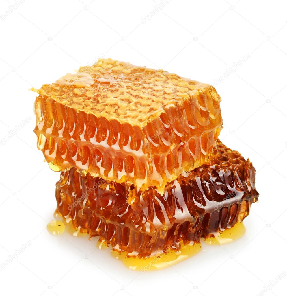 Sweet honeycombs with honey, isolated on white  Stock Photo #12090631