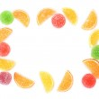 Frame of colorful jelly candies isolated on white — Stock Photo #12100499