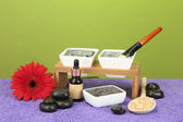Cosmetic clay for spa treatments on green background close-up — Stock Photo
