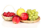 Ripe sweet fruits and berries isolated on white — Stock Photo
