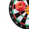 Stock Photo: Darts with sticker symbolizing health close-up on white background