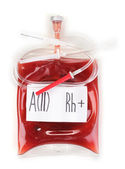 Bag of blood and infusion isolated on white — Stock Photo
