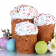 Royalty-Free Stock Photo: Beautiful Easter cakes, colorful eggs and flowers isolated on white