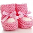 Pink baby boots isolated on white — Stock Photo #12131735