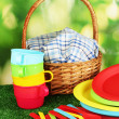 Bright plastic disposable tableware and picnic basket on the lawn on colorful background — Stock Photo #12131830