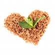 Royalty-Free Stock Photo: The heart of the chocolate crumb and mint isolated on white