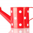 Stock Photo: Red watering cwith white polka-dot isolated on white