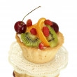 Sweet cake with fruits isolated on white — Stockfoto