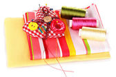 Sewing accessories and fabric isolated on white — Stock Photo