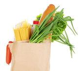 бумажный пакет с едой, изолированные на белом фоне — Стоковое фото