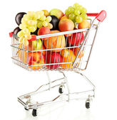 Still life of fruit in the cart isolated on white — Stock Photo