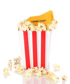 Classic box of popcorn and cinema tickets isolated on white — Stock Photo