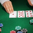 Poker setting on green table — Stock Photo