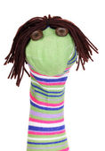 Cute sock puppet isolated on white — Stock Photo