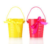 Colorful buckets isolated on white — Stock Photo