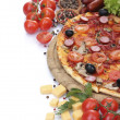 Delicious pizza, vegetables and salami isolated on white — Stock Photo #12160600