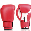 Red boxing gloves isolated on white — Stock Photo