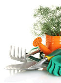 Garden tools on white background close-up — Stock Photo
