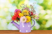 Purple watering can with white polka-dot with flowers on green background — Stock Photo