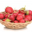 Sweet ripe strawberries in basket isolated on white — Stock Photo #12182303