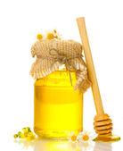 Doux miel en pot et daisy fleurs isolé sur blanc — Photo