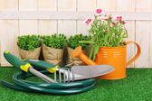 Trädgårdsredskap på trä bakgrund — Stockfoto