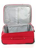 Ouvert vide valise rouge isolé sur blanc — Photo