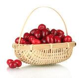 Cornel świeże jagody w wickerbasket na białym tle — Zdjęcie stockowe